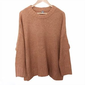 aerie Crewneck Oversized Wool Tan Sweater